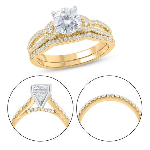 Cali Trove 10KT Yellow Gold 1/2 ct TDW & Moissanite engagement ring.