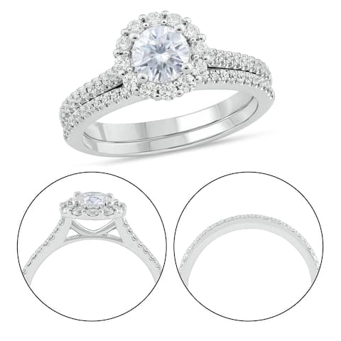 Cali Trove 10KT White Gold 1/2 ct TDW & Moissanite Bridal Ring