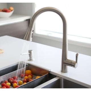 STYLISH Single Handle High Arc Brushed Nickel Pull Down Sprayer Kitchen Sink Faucet,Lead-Free Single Lever Double Mode Sprayer