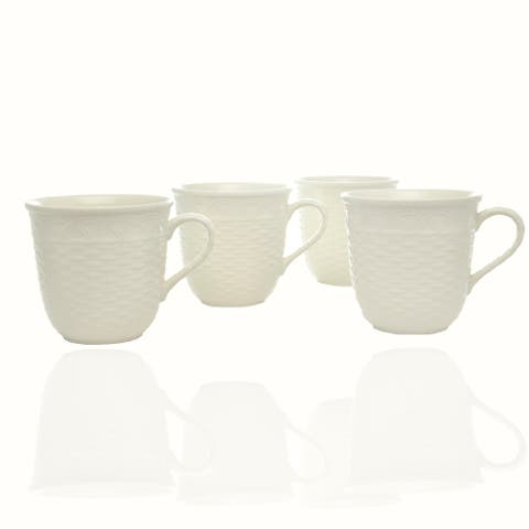 Red Vanilla Nantucket White Mug 16oz Set /4