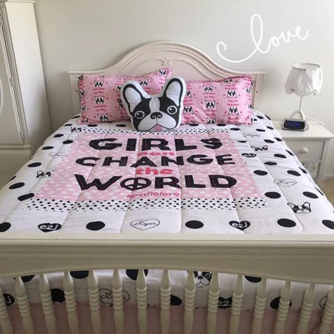TheInspiringHome Girls Change The World Reversible Comforter Set with matching Shams 86 Inch by 68 Inch, Pink