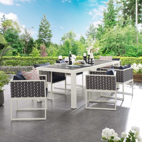 Stance 7 Piece Outdoor Patio Aluminum Dining Set