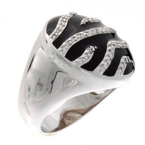 Art Deco Syn Black Onyx and Crystal Ring by Simon Frank Designs