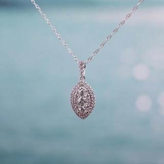 Miadora 10k White Gold 1 2ct TDW Diamond Composite Marquise Halo Drop Necklace