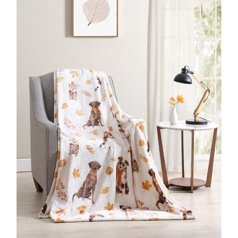 Asher Home Fall Puppy Friends Plush Throw Blanket