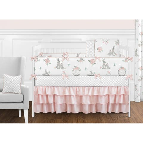 Sweet Jojo Designs Blush Pink Grey Woodland Boho Dream Catcher Bunny Floral 9-pc Nursery Crib Bedding Set - Watercolor Rose