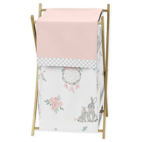 Sweet Jojo Designs Blush Pink Grey Woodland Boho Dream Catcher Arrow Bunny Floral Collection Laundry Hamper - Watercolor Rose