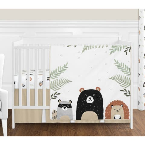 Sweet Jojo Designs Bear Raccoon Forest Animal Woodland Pals Collection 4-piece Nursery Crib Bedding Set - Beige Green Black Grey
