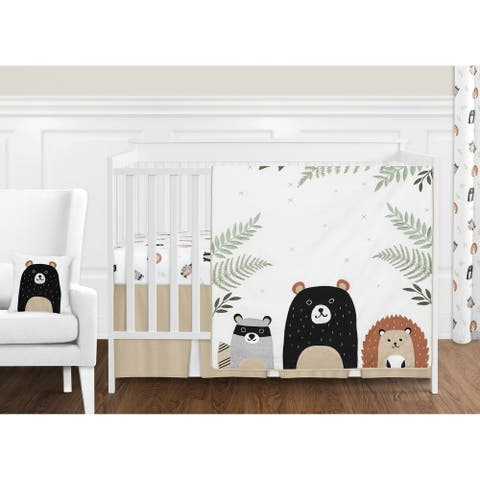 Sweet Jojo Designs Bear Raccoon Forest Animal Woodland Pals Collection 11-pc Nursery Crib Bedding Set - Beige Green Black Grey