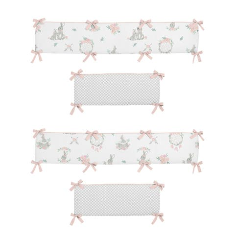 Sweet Jojo Designs Blush Pink Grey Woodland Boho Dream Catcher Arrow Bunny Floral Girl Baby Crib Bumper Pad - Watercolor Rose