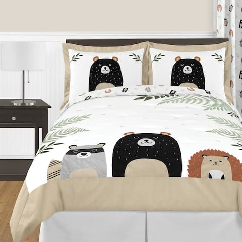 Sweet Jojo Designs Bear Raccoon Forest Animal Woodland Pals Collection 3-pc Full Queen Comforter Set - Beige Green Black Grey