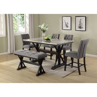 Best Quality Furniture Counter Height 6-Piece Dining Set w/ Faux Marble Table Top and Counter Height Bench