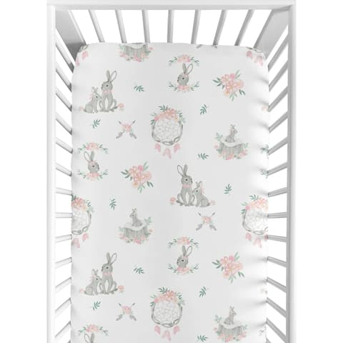 Sweet Jojo Designs Blush Pink Grey Woodland Boho Dream Catcher Arrow Gray Bunny Floral Girl Fitted Crib Sheet - Watercolor Rose