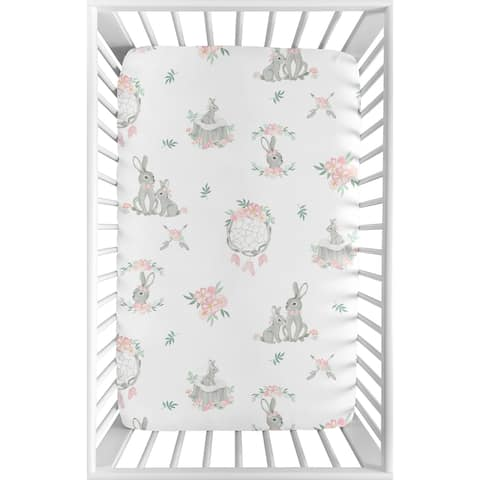 Sweet Jojo Designs Blush Pink Grey Woodland Boho Dream Catcher Bunny Floral Fitted Mini Portable Crib Sheet - Watercolor Rose