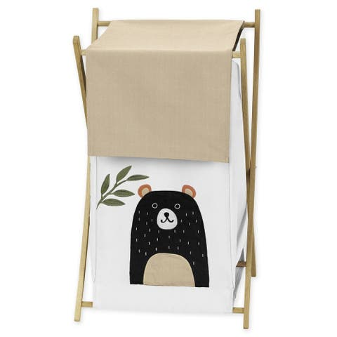 Sweet Jojo Designs Bear Forest Animal Woodland Pals Collection Laundry Hamper - Neutral Beige, Green, Black and White