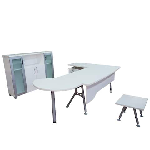 "Modern Clover 6 Piece L Shaped Desk Office Suite Furniture Set 71"" White & Metalic Grey"