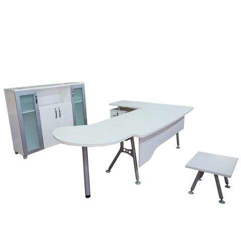 "Modern Clover 6 Piece L Shaped Desk Office Suite Furniture Set 63"" White & Metalic Grey"