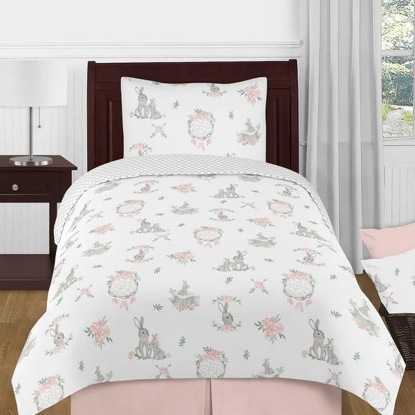 Sweet Jojo Designs Blush Pink Grey Woodland Boho Dream Catcher Arrow Bunny Floral Girl 4-pc Twin Comforter Set - Watercolor Rose