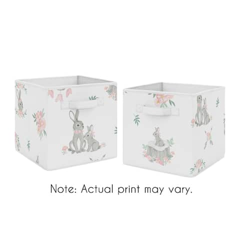 Sweet Jojo Designs Blush Pink Grey Woodland Boho Dream Catcher Arrow Bunny Floral Foldable Fabric Storage Bins - Watercolor Rose
