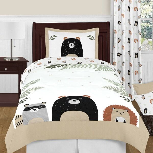 Sweet Jojo Designs Bear Raccoon Hedgehog Forest Animal Woodland Pals Collection 4-pc Twin Comforter Set - Beige Green Black Grey