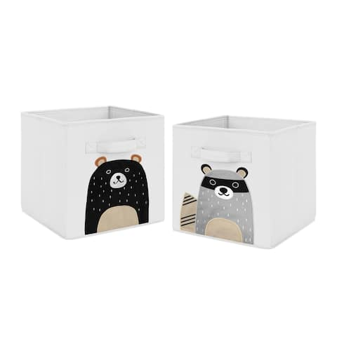 Sweet Jojo Designs Bear Raccoon Forest Animal Woodland Pals Collection Foldable Fabric Storage Bins - Beige Grey Black White