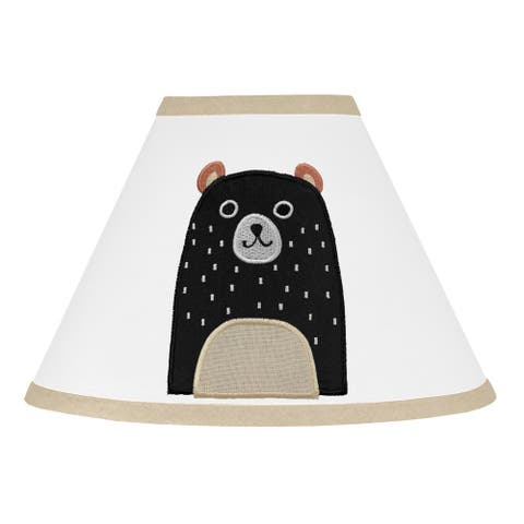 Sweet Jojo Designs Bear Forest Animal Woodland Pals Collection Lamp Shade - Neutral Beige, Black and White