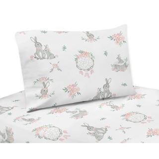 Sweet Jojo Designs Blush Pink Grey Woodland Boho Dream Catcher Arrow Gray Bunny Floral 3-pc Twin Sheet Set - Watercolor Rose