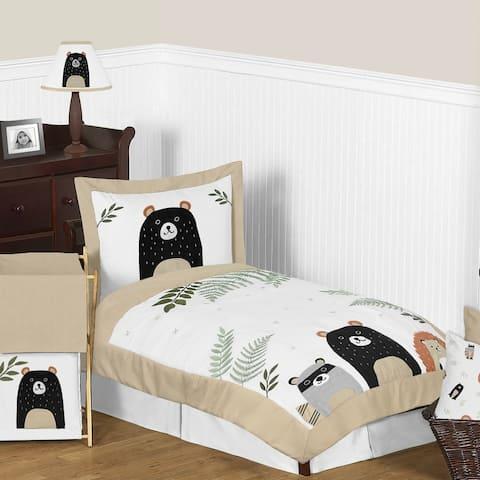 Sweet Jojo Designs Bear Raccoon Forest Animal Woodland Pals Collection 5-pc Toddler-size Comforter Set - Beige Green Black Grey