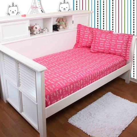 TheInspiringHome Bon Jour Paris Sheet Set In Pink, White, Black