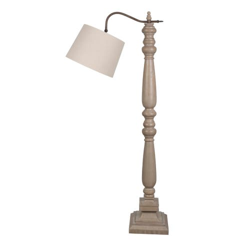 """Lamps Per Se 60.5"""" Washed Wood Toned Floor Lamp - 60 inch"""