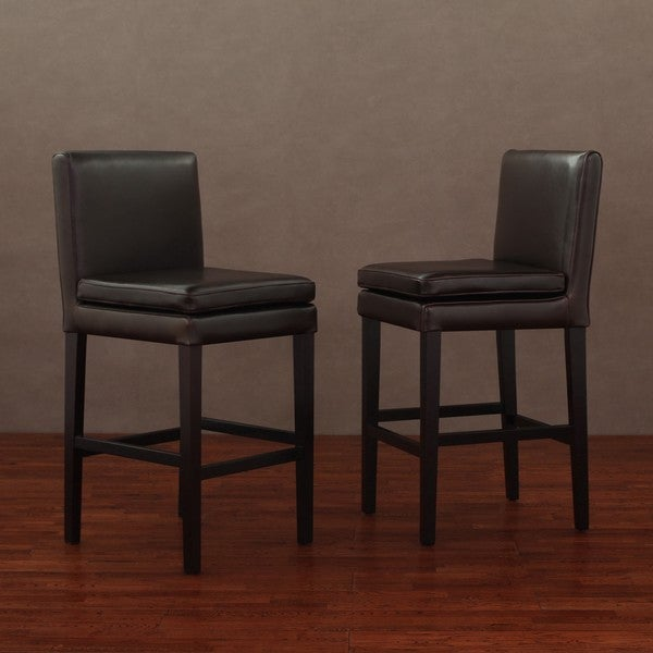 Leather Cushion Counter Stools Dark Brown (Set of 2)