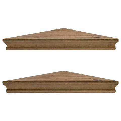 Porch & Den Brugger Rustic Walnut Brown Wood Floating Corner Shelves (Set of 2)