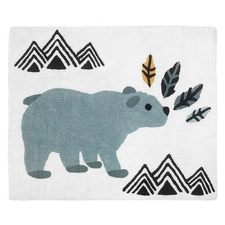 Sweet Jojo Designs Bear Mountain Watercolor Collection Accent Floor Rug (2.5' x 3') - Slate Blue, Yellow, Black and White
