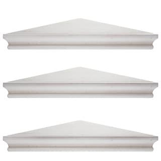 Whitewashed Wood Floating Corner Shelves (Set of 3)