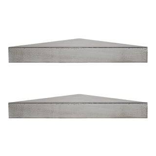 Rustic Wood Floating Corner Shelves (Set of 2) - Grey