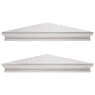 Porch & Den Brugger Whitewashed Wood Floating Corner Shelves (Set of 2)