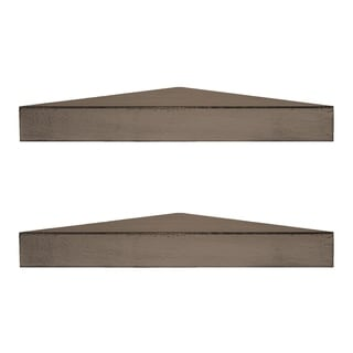 Porch & Den Martin Rustic Walnut Brown Wood Floating Corner Shelves (Set of 2)