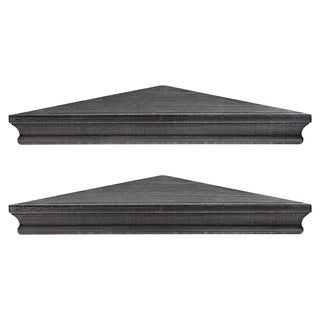 Rustic Wood Floating Corner Shelves (Set of 2) - Black
