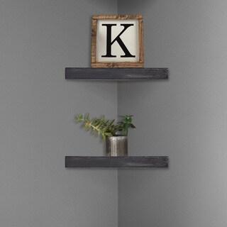 Rustic Wood Floating Corner Shelves (Set of 2) - Black
