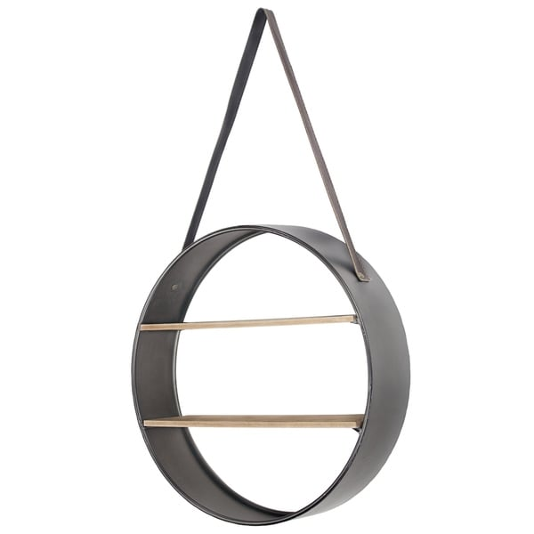 Shop Metal And Wood Round Hanging Wall Shelf With Strap