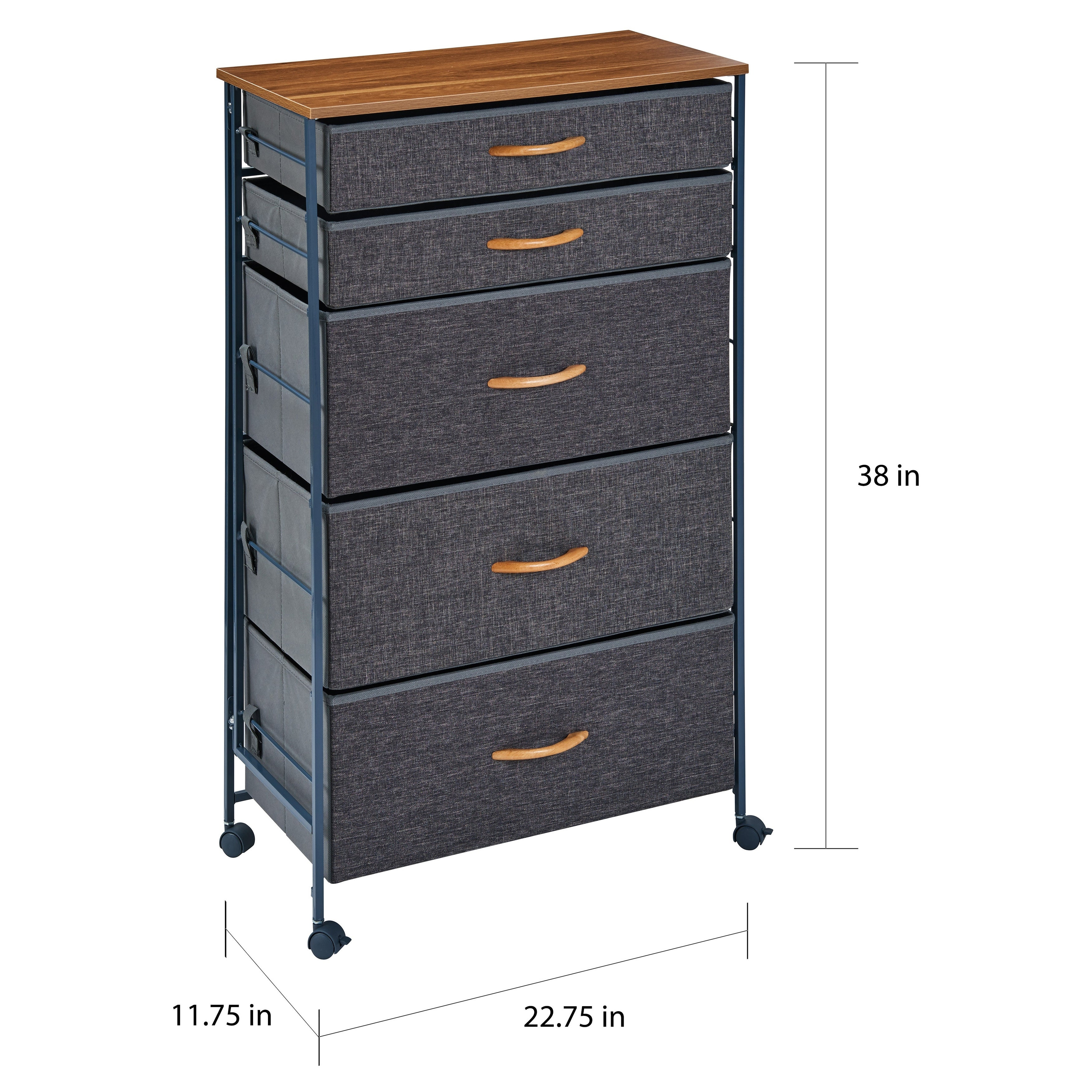 Danya B Fabric 5 Drawer Storage Dresser Chest With Caster Wheels Overstock 28981501