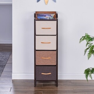 Link to Porch & Den Spiesschaert Multi Brown Steel/ Wood/ Fabric Narrow 5-drawer Desser Similar Items in Dressers & Chests