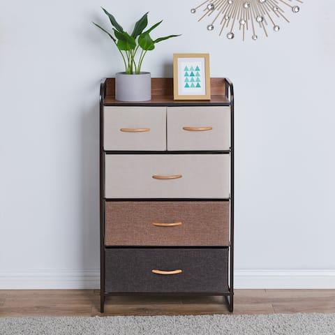 Danya B. Decorative Modern Storage Chest Dresser with 5 Fabric Drawers