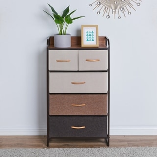 Link to Porch & Den Spiesschaert Multi Brown Steel/ Wood/ Fabric 5-drawer Dresser Similar Items in Bedroom Furniture