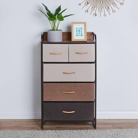 Porch & Den Spiesschaert Multi Brown Steel/ Wood/ Fabric 5-drawer Dresser