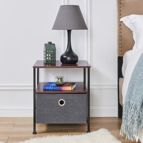 Danya B Nightstand End/Side Table with Shelf and Fabric Storage Drawer