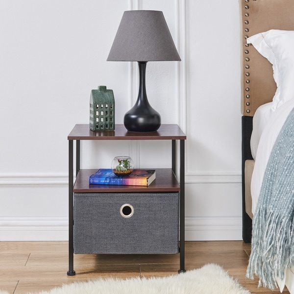 Porch & Den Menlor Fabric Storage Drawer Side Table with Shelf
