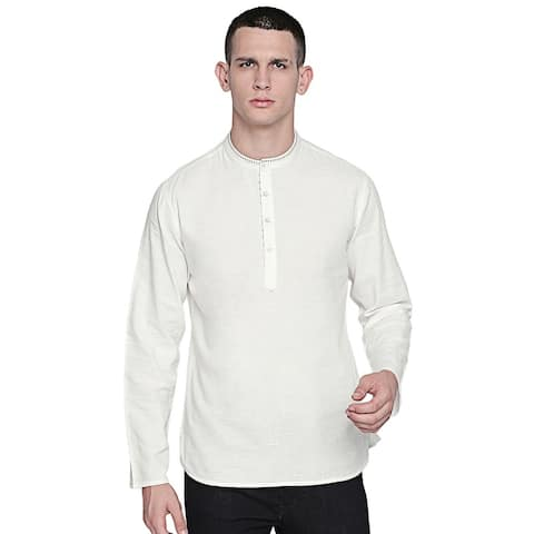 In-Sattva Men's Indian Hand-Embroidered Band Collar Hip-Length Pure Cotton Tunic