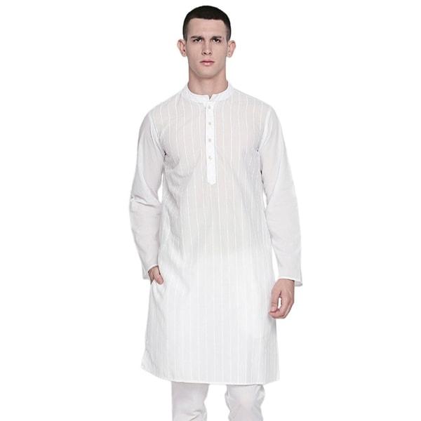 In-Sattva Mens Indian Mandarin Collar Pure White Pin-Stripe Cotton Kurta Tunic