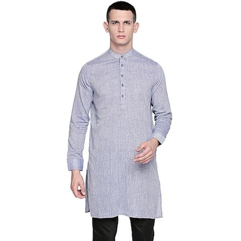 In-Sattva Men's Pure Cotton Indian Banded Collar Linen-Look Textured Kurta Tunic